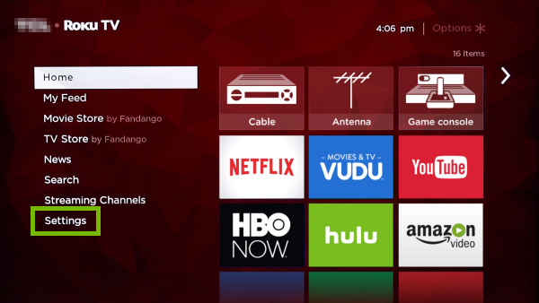Settings option highlighted on Roku TV home screen.