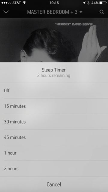 Sleep timer duration selection screen on mobile