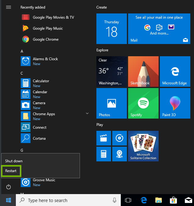 screenshot of the windows start menu with restart highlighted