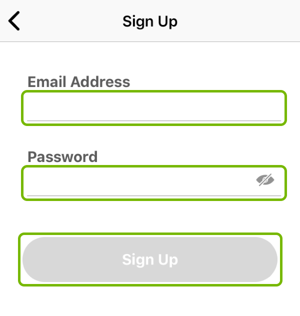 Email Address and Password fields, and Sign Up button highlighted in Tile app.