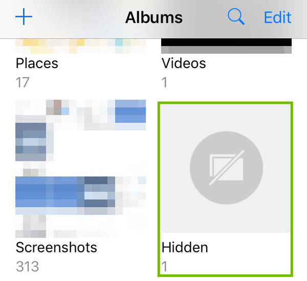 Albums with Hidden highlighted.