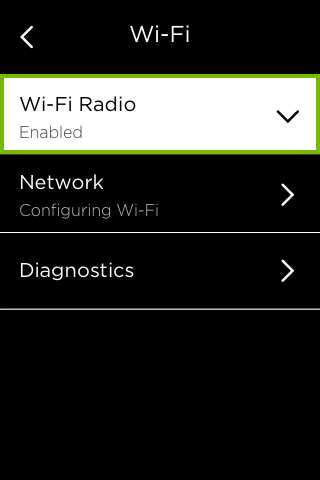 Wi-Fi Radio option highlighted in Wi-Fi menu.