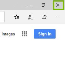 Edge with X highlighted. Screenshot