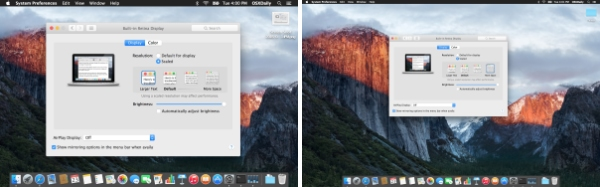 Large and small resolutions on Mac, side by side.