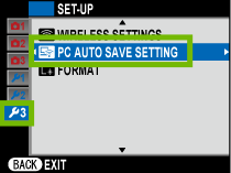 setup menu 3 with pc auto save setting highlighted