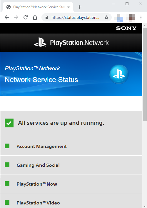 PlayStation Network showing online