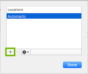 Locations dialog with plus sign highlighted.