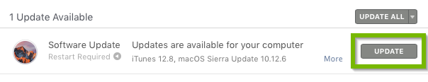 App Store updates section highlighting the update button.