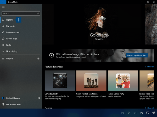Windows 10 Groove Music app.