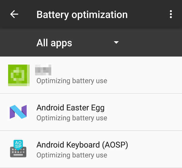 Battery optimization turned on.