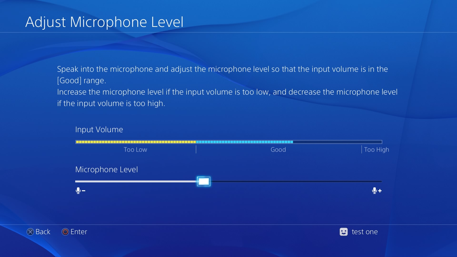 Adjust Microphone Level screen. Screenshot.