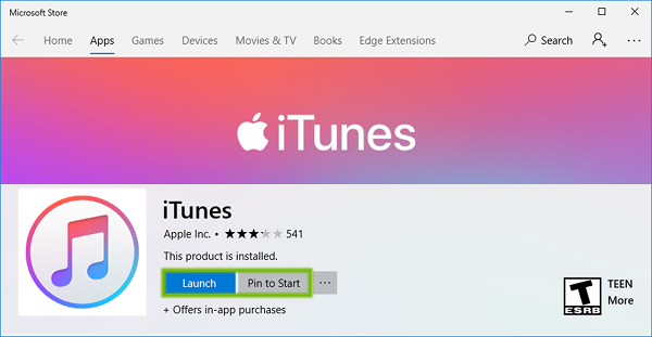 Microsoft Store iTunes installed with Launch and Pin to Start buttons highlighted.