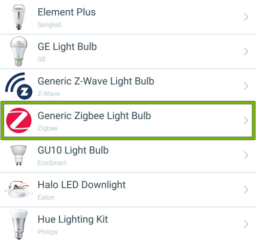 Generic Zigbee Light Bulb option highlighted in list of light bulb types of Wink app.