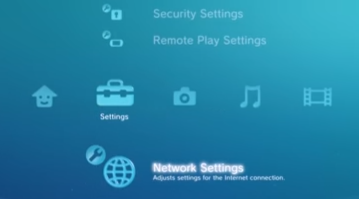 Settings menu with Network Settings selected. Screenshot.