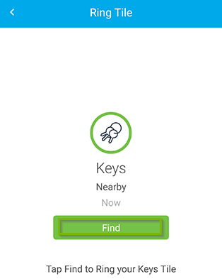 Tile test screen with Find button selected. Screenshot.