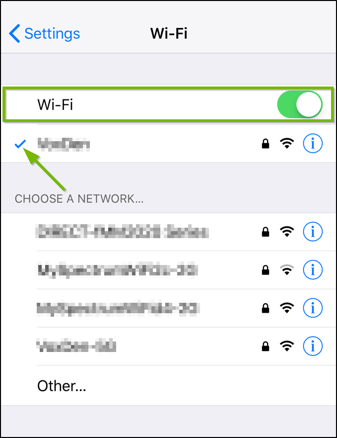 iOS Wi-Fi settings with the toggle selected and the Wi-Fi network highlighted