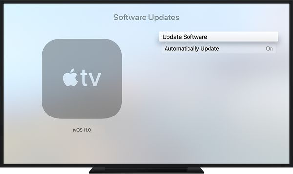 Apple TV update menu.