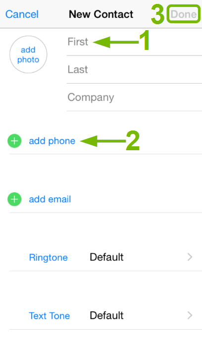 New Contact entry screen on iOS.