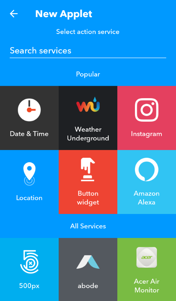 Action service selection screen in IFTTT app.