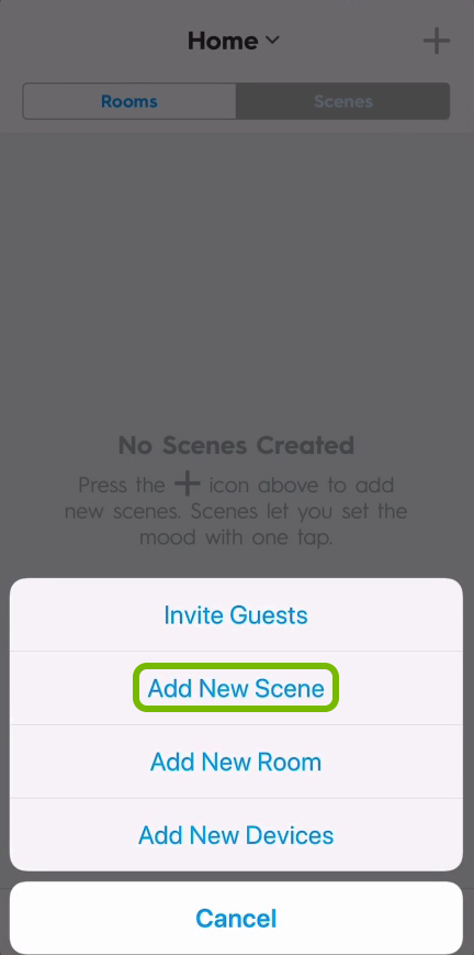 Add New Scene option highlighted in C by GE app.