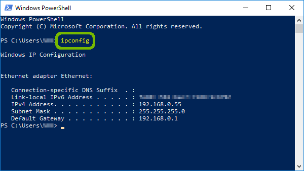 PowerShell with ipconfig command highlighted.