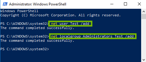 screenshot of powershell with commands endered