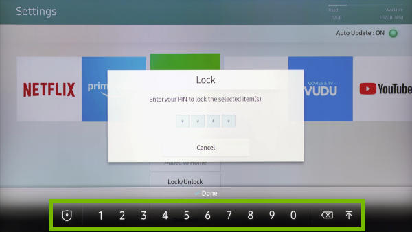 On-screen-keyboard highlighted on App Locking prompt on Samsung Smart TV.