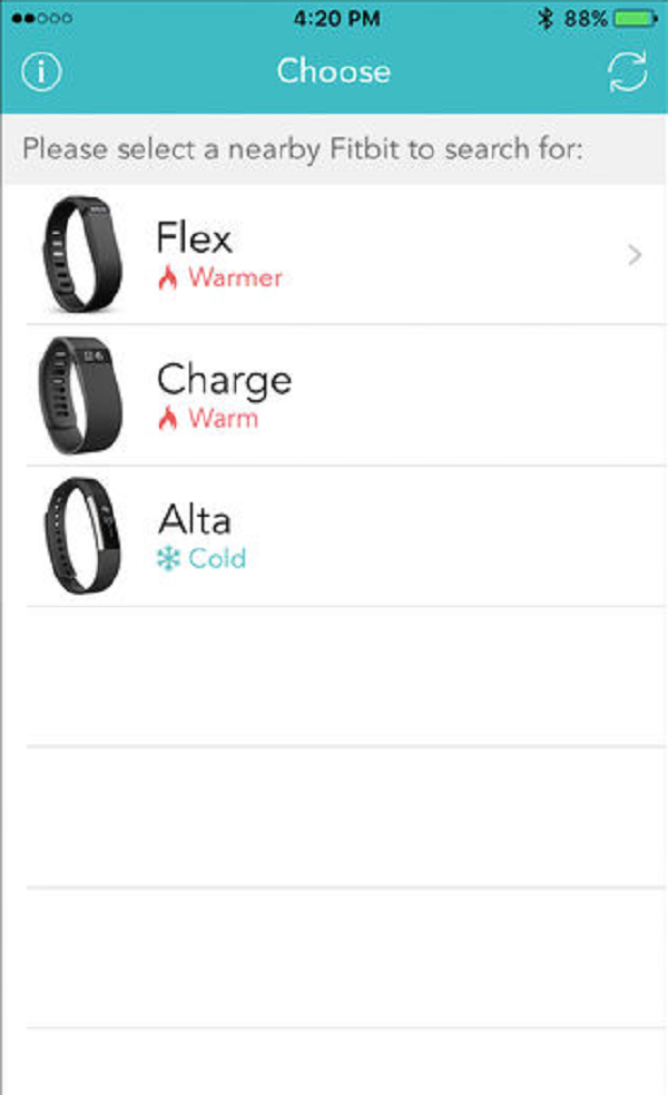 Fitbit App Choose your device. Screenshot