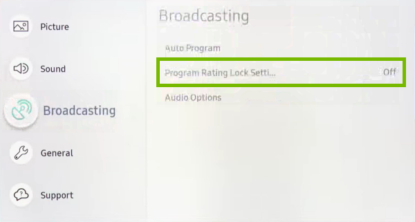 Program Rating Lock Settings option highlighted in settings menu of Samsung Smart TV.