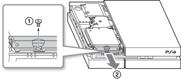 Diagram showing HDD retention screw and showing drive removal.