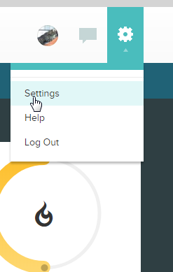 Gear icon on fitbit website. screenshot