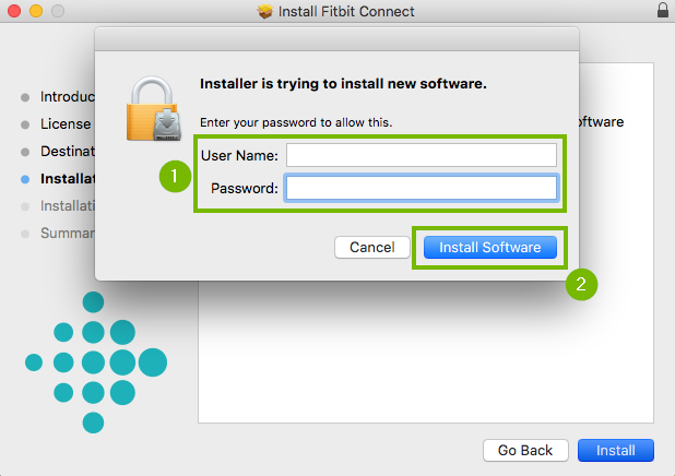 Installer with username and password highlighted and then install software button is highlighted