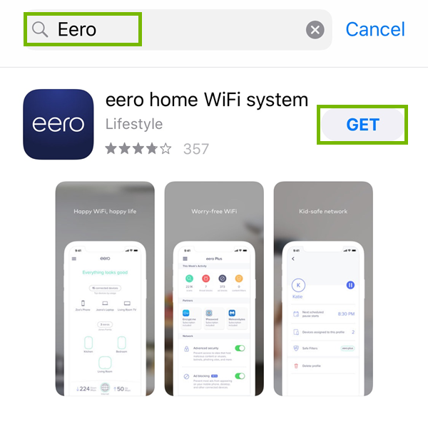 Install Eero from App Store