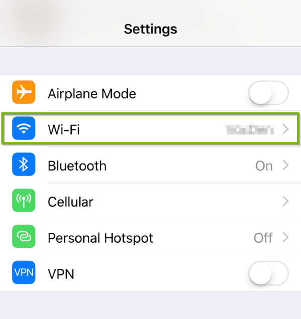 Wi-Fi highlighted in iOS settings.