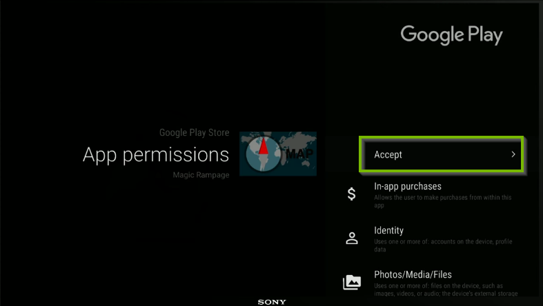 App pre-install screen showing permissions, Accept button highlighted