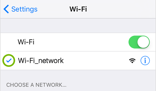Checkmark highlighted next to Wi-Fi network name in iOS settings.