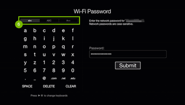 Wi-Fi password entry screen.
