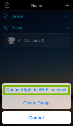 Connect light to Wi-Fi network