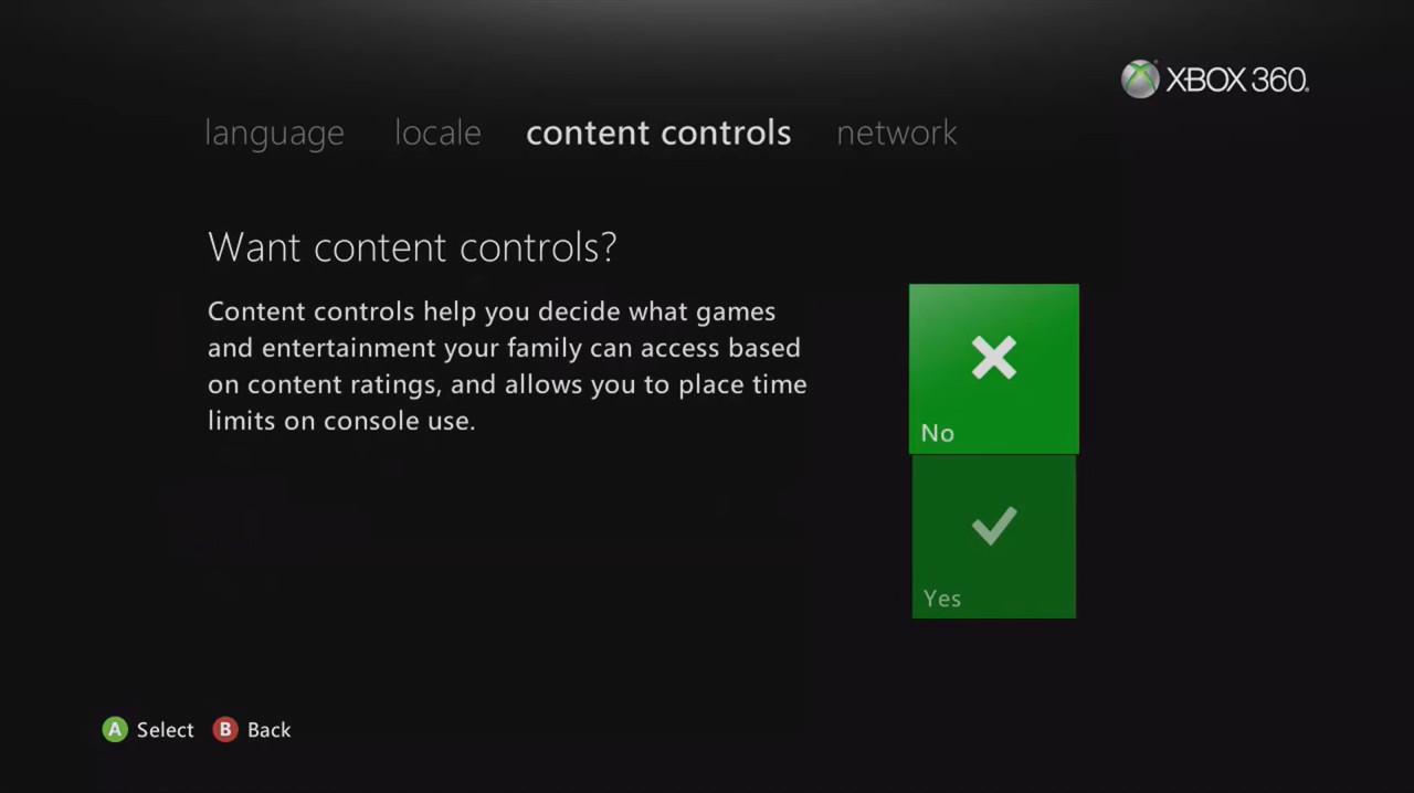 Xbox 360 initial setup content control options.