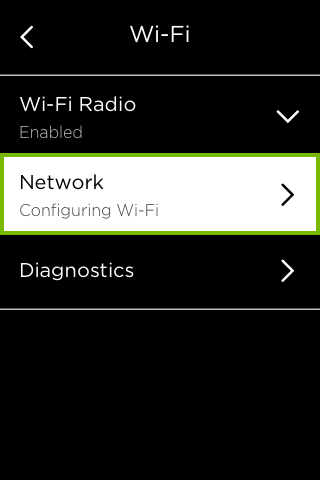Network option highlighted in Wi-Fi menu.