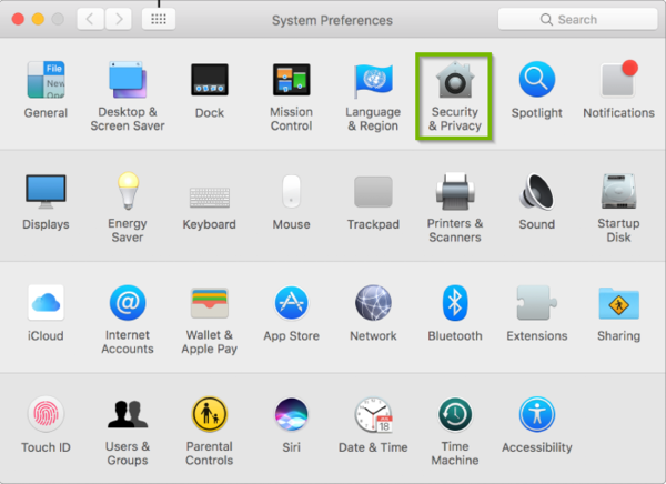system Preferences with Security and Privacy highlighted