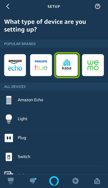 Kasa Smart brand highlighted in Alexa app.