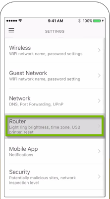 Settings screen showing router highlighted