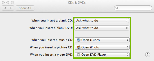 Dropdown choices highlighted in disc autoplay preferences.