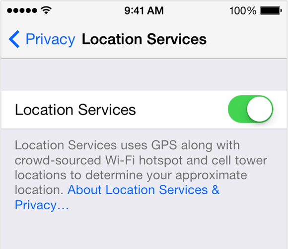 Location services turned on