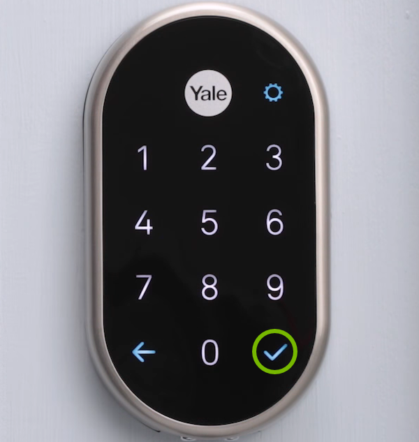 Checkmark highlighted on lock keypad.