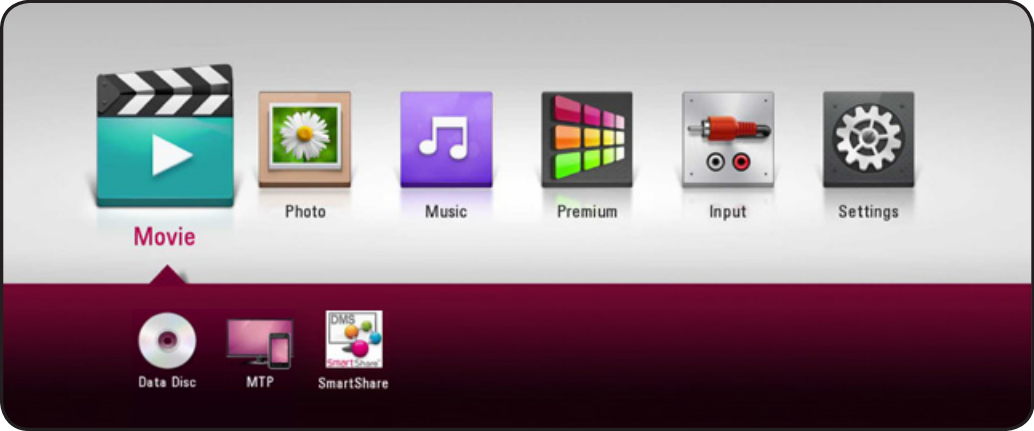LG home screen showing available sources for selected category.