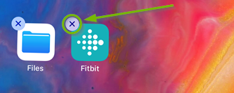 X in upper-left corner of Fitbit app icon highlighted. Screenshot.
