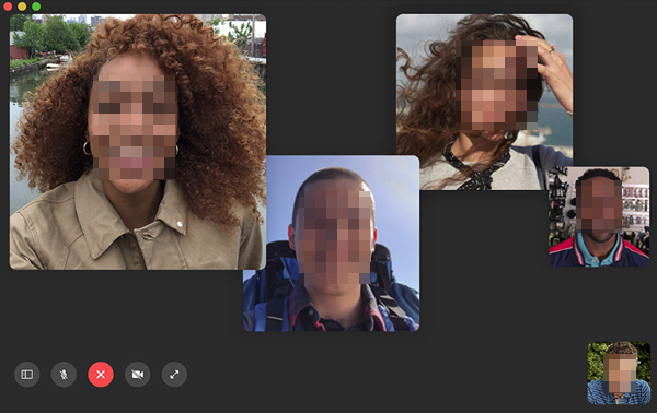 FaceTime on screen controls