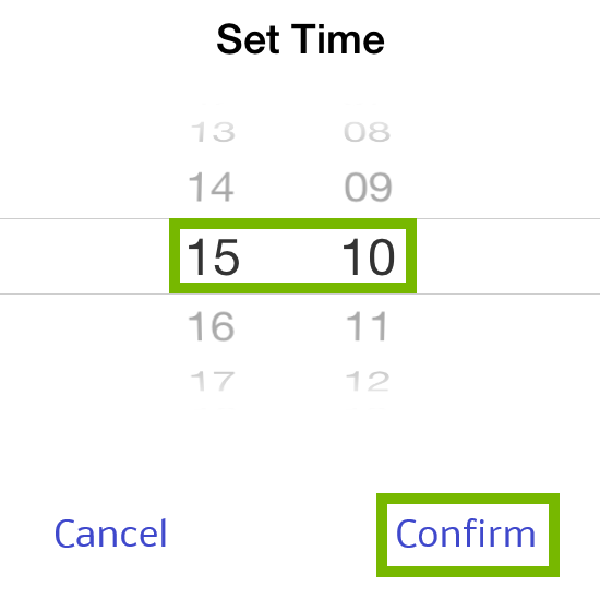 Selected time and Confirm highlighted